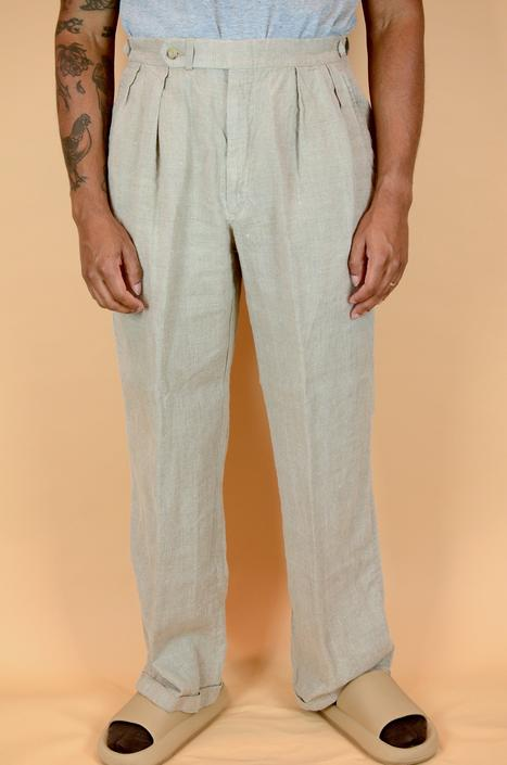 Vintage Cream Linen Dockers Pleated Trousers Pants 36x30 by MAWSUPPLY