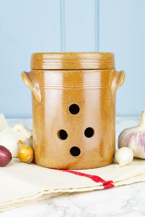 Vintage French Stoneware Garlic Keeper - Medium