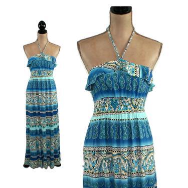 90s Long Summer Dress Women Small Boho Maxi  Rayon Halter Beach Bohemian Sundress Blue Paisley Tribal Print Vintage Clothing Hippie Clothes by MagpieandOtis