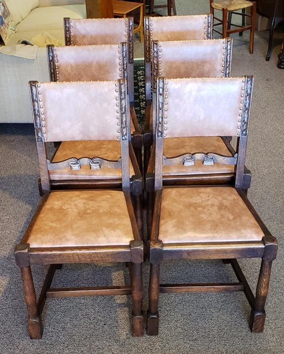 Item #R65 Set of Six Vintage Oak Dining Chairs c.1940s