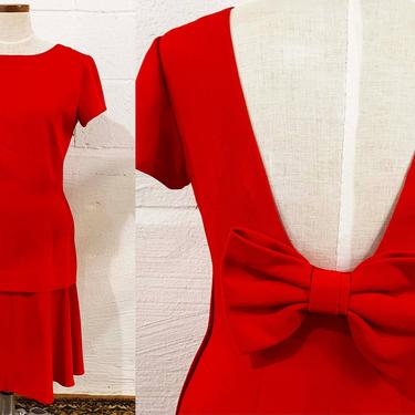 Vintage Red Dress Ann Taylor Steven Stolman Cocktail 1980s 80s Large Bow Scoop Low Back Short Sleeves Tiered Small Medium by CheckEngineVintage