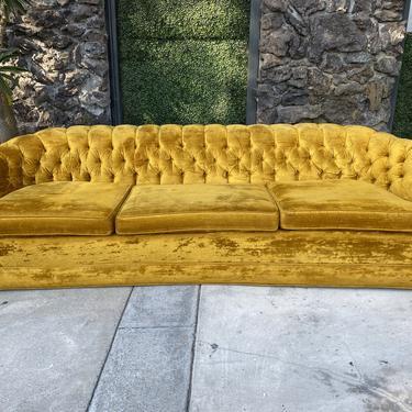 Gold Velvet 1960's Tufted Sofa