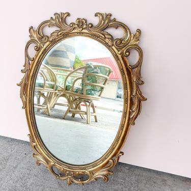 Petite Hollywood Regency Wood Carved Mirror