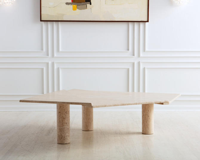 Large Triangle Travertine Coffee Table with 3 Column Legs