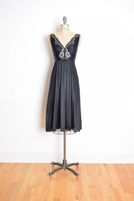 vintage olga gown olga nightgown black nightgown stretch lace gown ...