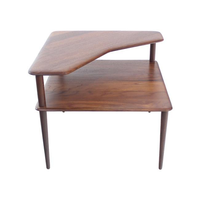 Scandinavian Modern Solid Teak Corner Table Designed by Peter Hvidt