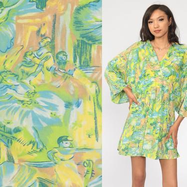 Ballet Babydoll Dress 70s Mod Mini Ballerina Dance Boho Hippie Kimono Sleeve Empire Waist 1970s Vintage Bohemian Caftan Green Small Medium by ShopExile