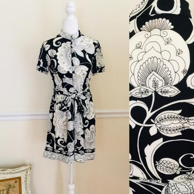 Vintage 60s Mod Party Dress With Matching Scarf Belt By Questo Black White Floral Mini Summer Dress Statement Dress Size Small by AuntyEntitysVintage