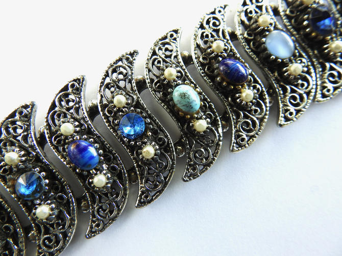 1960s Wide Art Glass Silver tone Bracelet by LegendaryBeast