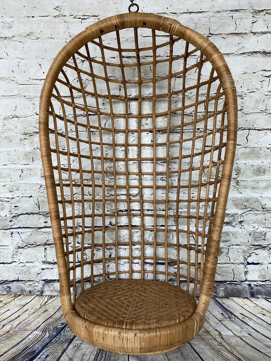 SHIPPING NOT FREE!!! Vintage Bamboo Hanging Chair with hook by WorldofWicker