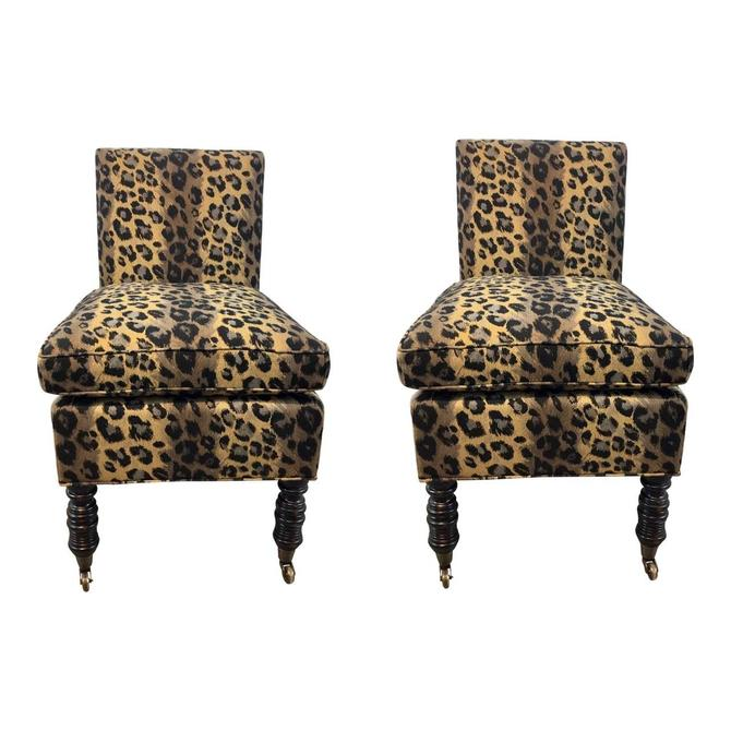 Currey & Co. Transitional Leopard Print Overcourt Slipper Chairs Pair