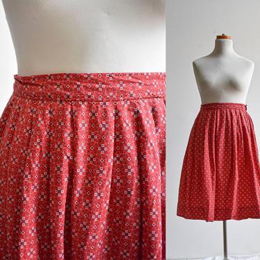 Vintage Red Bandana Print Cotton Skirt by milkandice