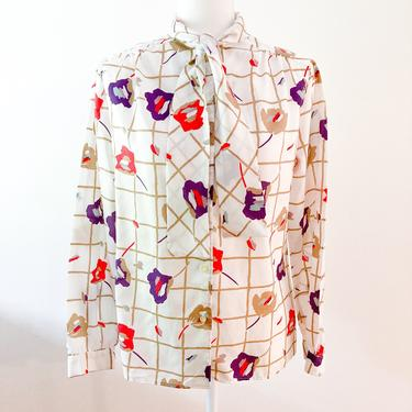 70s White Floral Grid Necktie Blouse | Large by MuteVintage