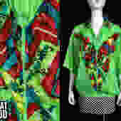 Radical Vintage 80s Neon Green & Red Geometric Pattern Short Sleeve Lightweight Windbreaker Jacket Top by RETMOD