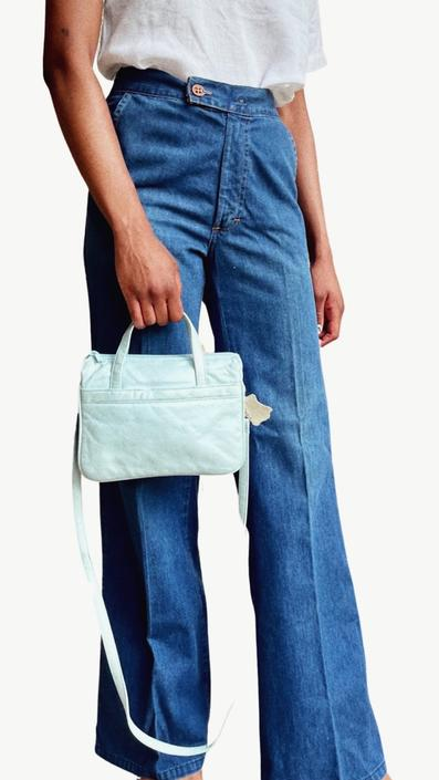 Pastel Leather Hand Bag with Strap