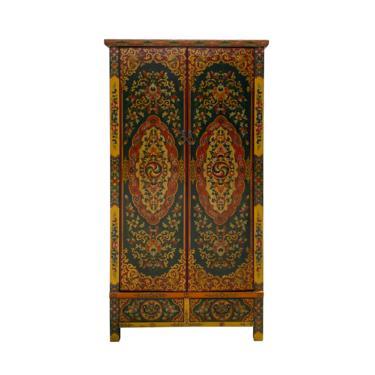 Chinese Tibetan Flower Jewel Treasure Tall Armoire Wardrobe Cabinet cs6951E by GoldenLotusAntiques
