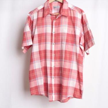 vintage soft BOXY men's plaid 1990s nirvana short sleeve thin and soft skater shirt -- Men's Size Large by CairoVintage