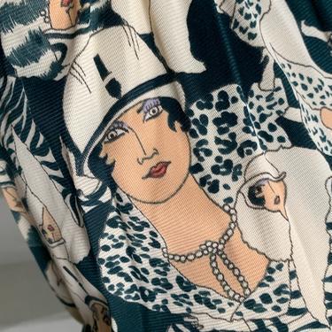 Crazy Cool 1970s Nylon Jersey Novelty Print Flapper Mini Dress Small Vintage by AmalgamatedShop