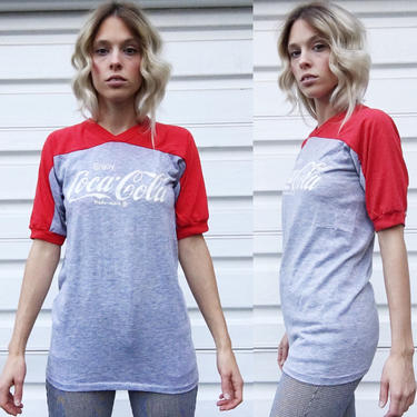 Vintage 70s Artex Red + Heather Gray Coca Cola Classic Two Tone Ringer Tee T-Shirt S/M by VernasVintageShop