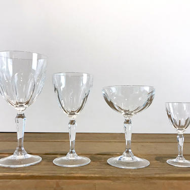 Cristal D'Arques Vintage 24% Lead Crystal Stemware Washington Collection, Water Goblet, Wine, Coupe Champagne, Cordial Glass Sets by ArchiveHomeVintage