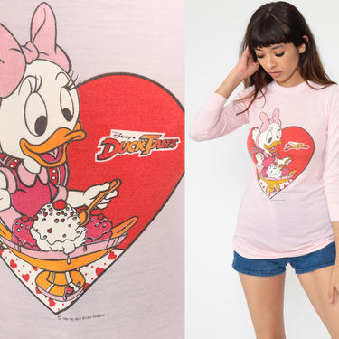 DuckTales Shirt Pink Disney Shirt Webby Vanderquack Tshirt 80s Graphic Duck Tales Cartoon Shirt Long Sleeve Vintage Tee 1980s Extra Small xs by ShopExile