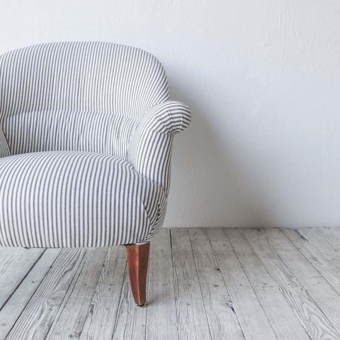 Vintage Ticking Stripe Crapaud  Arm Chair
