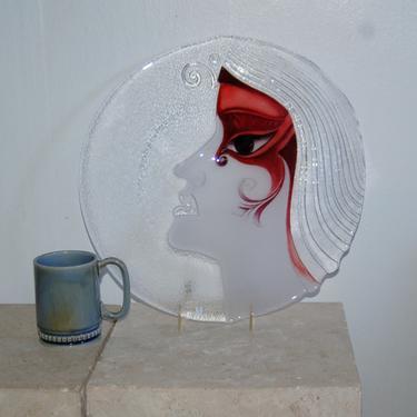 "Rare 15"" Mats Jonasson Athena Sculptured Ice Crystal w Mauve Mask Full Lead Crystal Art Glass Platter Maleras Sweden ~ Initials / Label by YesterdayAndTomorrow"