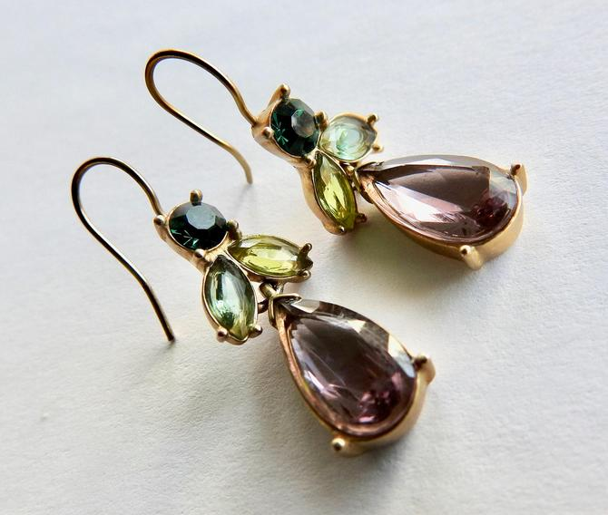 Open Set Purple and Green Crystal Earrings by LegendaryBeast