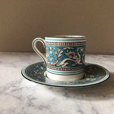 Vintage Wedgwood Florentine Turquoise Demitasse Cup, espresso cup, dragons and fruit on white bone china by theHeirloomYard
