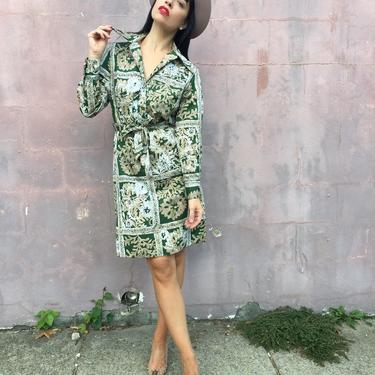 70s LANVIN shirt dress   butterfly collared button down floral print   belted long sleeve dress by LosGitanosVintage