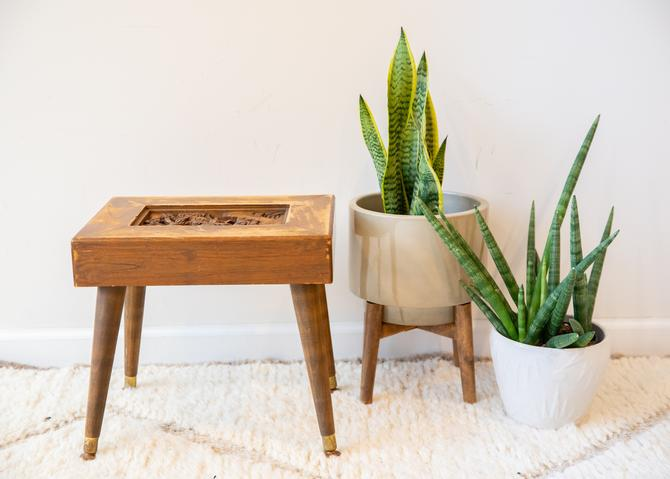Vintage Mid-Century Modern Wood Hand Carved Bench with Removable Legs by PortlandRevibe