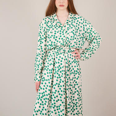 Vtg 60s Silk White/Green Polka Dot Shirtdress / Long Sleeve Collared  Fit and Flare Belted Dress / Plus Size 2XL by AmericanDrifter