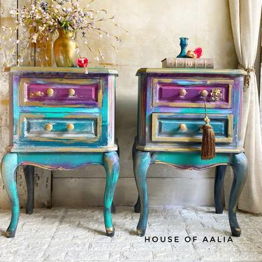 Teal Purple Nightstands | Bohemian Nightstands | Boho Bedside Tables |Anthropologie Inspired tables | Jewel Toned Table by HouseofAalia