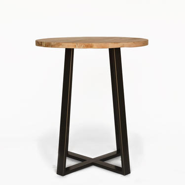 Round Pub Table made with WHITE OAK reclaimed wood and criss cross powder coated steel legs in choice of height, base color, size, finish by UrbanWoodGoods
