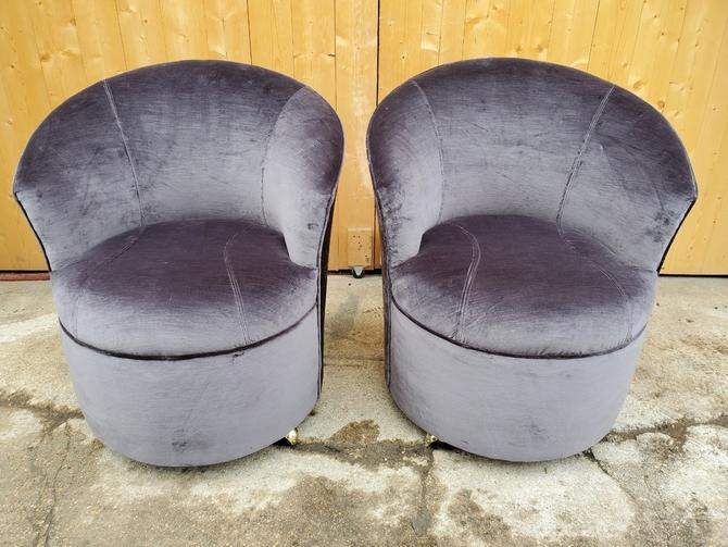 Sculptural Directional Barrel Chairs on Casters Newly Uphostered - Pair