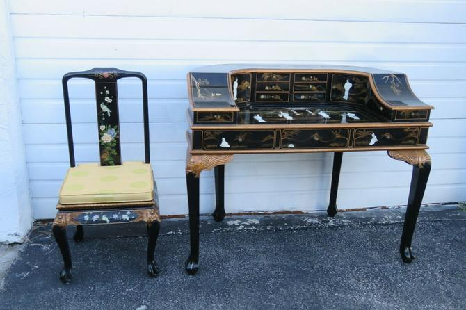 Chinoiserie Scenery Oriental Writing Lady Desk Vanity Table and Chair 1657