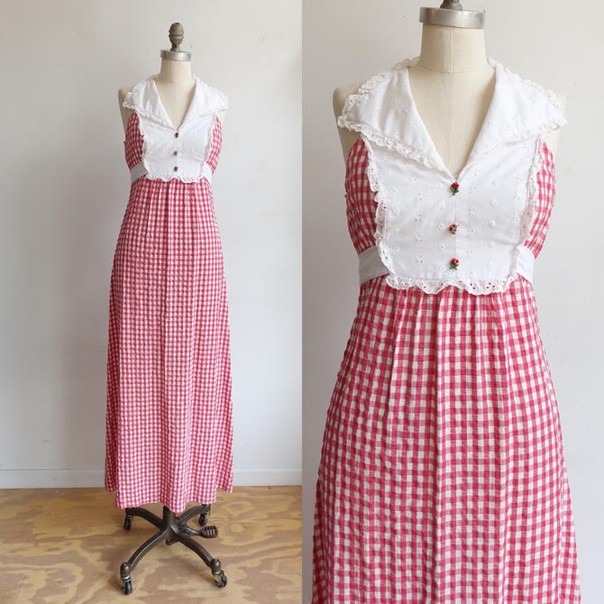 Vintage 70s Gingham Maxi Dress/ 1970s Sleeveless Red White Checked Summer Dress/ Size Medium by bottleofbread