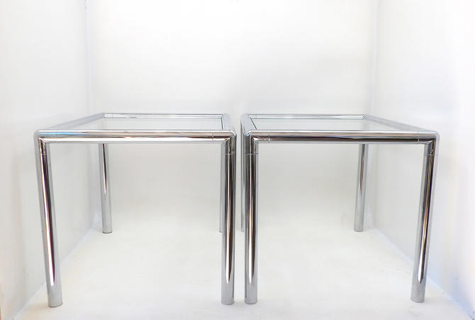 Incredible Mid Century Modern Chrome End Tables Low Profile Glass Ncnpc Chair Design For Home Ncnpcorg