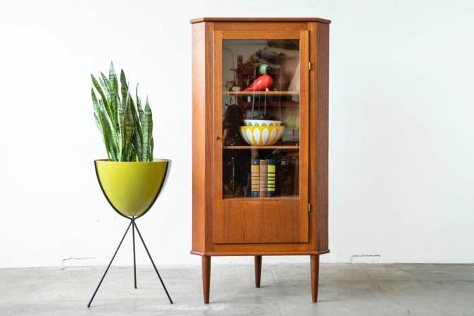 Danish Modern Teak Corner Cabinet by formermodern
