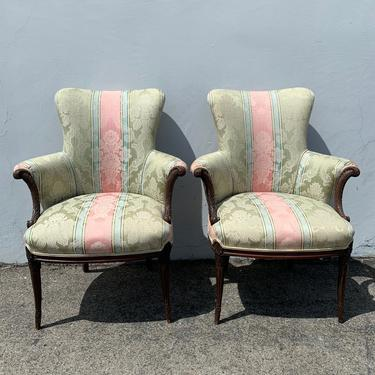 Pair of Chairs Traditional Wingback Armchairs Chair Seating Vintage Wing Back Fan Lounge Victorian Wood English Set High Back Set of Formal by DejaVuDecors