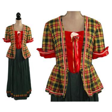 Yellow Red & Green Tartan Plaid Long Dress for Victorian Christmas Dickens Costume, Outlander Outfit, War Reenactment, Women Medium Large by MagpieandOtis