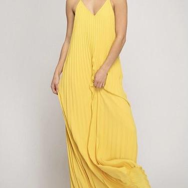 Yellow Accordian pleated maxi dress