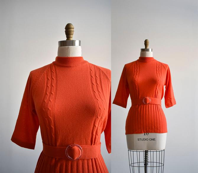 Vintage Tangerine Belted Sweater by milkandice