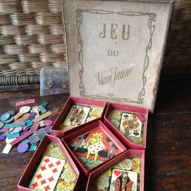 Antique French Board Game, Nain Jaune, Yellow Dwarf Game, Colorful Clay Chips and Game Pieces by JansVintageStuff