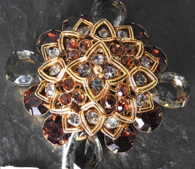 Large Signed Graziano Unworn Smoke and Garnet Rhinestone Brooch NWT by LegendaryBeast
