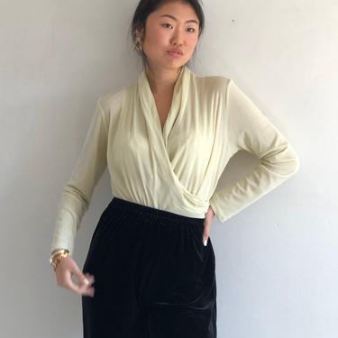 90s mesh wrap top / vintage silk pistachio lime green sheer silk mesh wrap front long sleeve top blouse | L by RecapVintageStudio