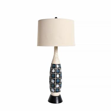 Hand Painted Table Lamp Large Lamp Mid Century Modern by HearthsideHome
