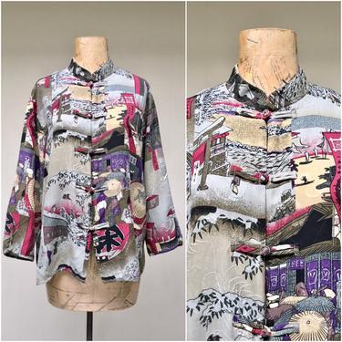 Vintage 1990s Citron Santa Monica Washed Silk Blouse, Japanese Print Fabric Mandarin Collar Boho Chic Top. Medium by RanchQueenVintage