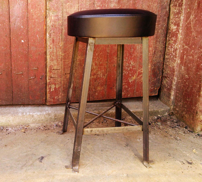 FREE SHIPPING - Vintage Style Clerk Stool with Upholstered Cushioned Seat by BarnWoodFurniture