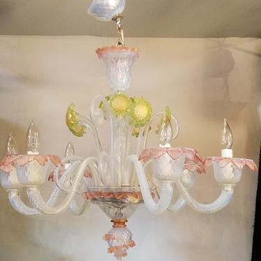 Midcentury Seguso Murano 6 Arm Handblown Glass Chandelier